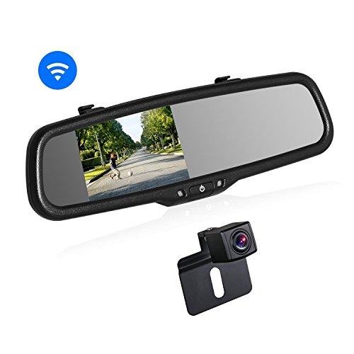 "BOSCAM K2 Rückfahrkamera Set, Rückfahrkamera Drahtlos mit 14.4 cm/4.3\"" Zoll LCD Farbdisplay im Rückspiegel, IP68 Wasserdichte Rückfahrkamera mit Nachtsicht für Auto, Bus, LKW, Schulbus, Anhänger"
