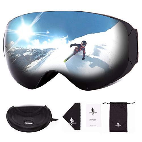FREE SOLDIER Skibrille für Herren und Damen Antibeschlag OTG Snowboardbrille mit Abnehmbarer Linse Winter Magnetische Rahmenlose Skibrille für Brillenträger mit 100{dd1d975e2406370b518cd8b19aa0567a7963661b9b65db491fa98607ccfc8ef0} UV400-Schutz(Schwarz-14{dd1d975e2406370b518cd8b19aa0567a7963661b9b65db491fa98607ccfc8ef0} VLT)