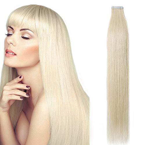Tape in Extensions Echthaar Haarverlängerung Klebeband Haarteil 100% Remy Human Haar (20 stück+10pcs free tapes) Platinumblond#60 Platinumblond#60-2 14