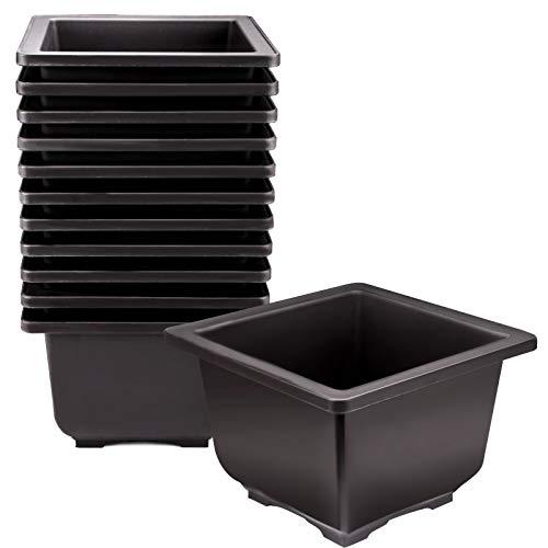 KINJOEK 15 PCS 6.7 Inch Plant Pot, Square Plastic Bonsai Training Pots, Flower Succulent Pots Container for Garden, Indoor, Home Decorative