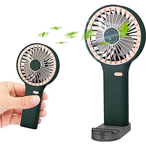 Ventilatore Portatile usb Potente 3 in 1, Ventola di raffreddamento portatile con supporto per telefono, Ventilatori da tavolo ricaricabili USB con 3 velocità, diffusore per aromaterapia (verde)
