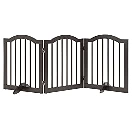 unipaws Freestanding Pet Gate with 2pcs Support Feet, Foldable Dog Gate for Stairs, Pet Gate Panels, Decorative Indoor Pet Barrier with Arched Top,Grey