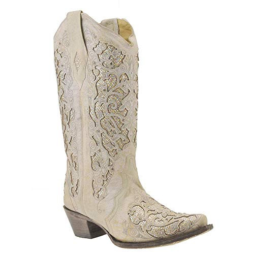 Corral Women's White Glitter Inlay & Crystals White Cowgirl Boots, Size 8.5