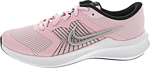 Nike Downshifter 11 GS, Scarpe da Ginnastica, Pink Foam/Mtlc Silver-Black-White, 35.5 EU