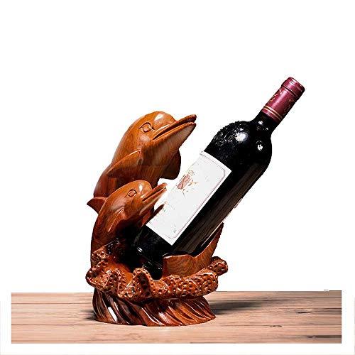YOLANDE Titular de la Botella de Vino del Palo de Rosa Tallado botellero delfín artesanías de Caoba botellero Habitaciones Adornos de decoración hogar Que Viven