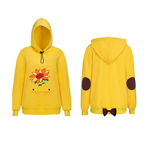 FirstCos Wonder Egg Priority Ohto Ai Cosplay Hoodies Anime Pullover Drawstring Hooded Sweatshirts Yellow Cute Sunflowers Tops (Ohto Ai Hoodies, 2XL)
