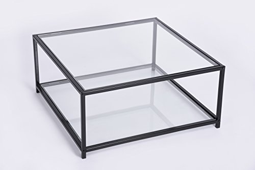 Glass Top and Bottom Square Coffee Table