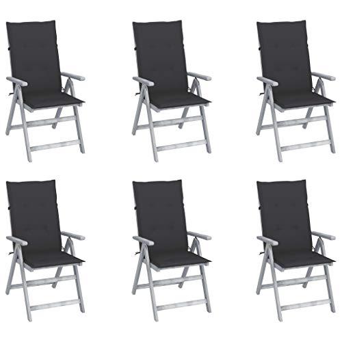 VidaXL - 6 sedie pieghevoli da giardino in legno d'acacia con cuscini per sedia da giardino per terrazzo, sedie per sala da pranzo da giardino