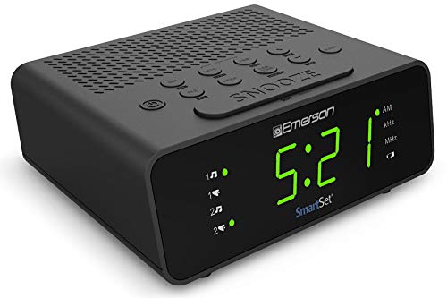 Emerson SmartSet Alarm Clock Radio with AM/FM Radio, Dimmer, Sleep Timer and .9 LED Display, CKS1900