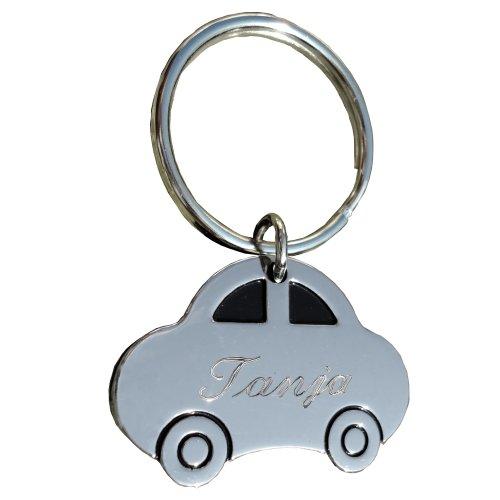 Metallschlüsselanhänger Auto/PKW mit SOFORTGRAVUR + VORSCHAU: Gravur : Vorname oder Datum inklusive. Metall Schlüsselanhänger hochglanzpoliert
