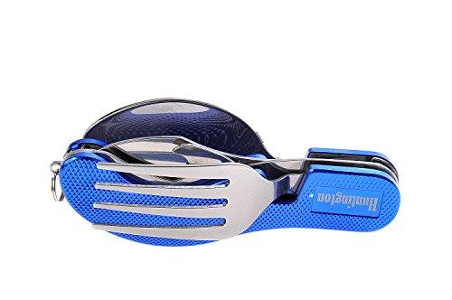 Huntington Besteckset 4-teilig (Messer, Gabel, Löffel, Flaschenöffner) blau - Mod. K544-02 DE