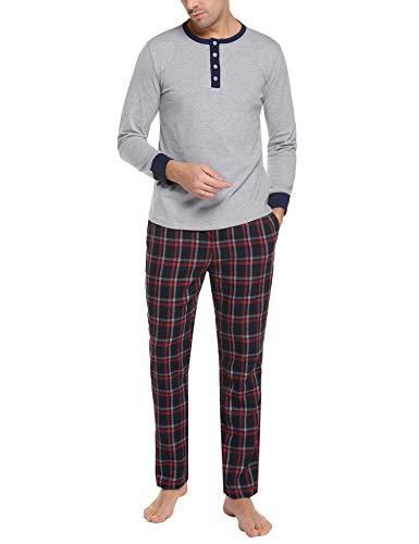 Doaraha Pijama Hombre Invierno Manga Larga Algodón Pijamas Camiseta y Pantalones Cuadros Celosía Ropa de Dormir Cuello Abotonado Suave Cómodo 2 Piezas (Gris Claro, XXL)