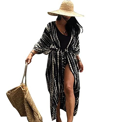 Jecarden Damen Strandkleid Bikini Cover Up für Damen Strandponcho Damen Lose Sommer Pareos Lang Sommerkleid Damen Elegant Maxikleid Baumwolle für Urlaub Die Einheitsgröße.