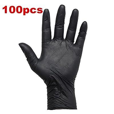 VideoPUP 100 Black Latex Powder Free Medical Exam Tattoos Piercing Gloves Size Small, Medium, large