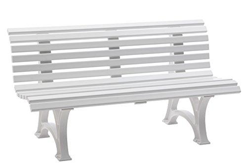 gartenmoebel-einkauf Wetterfeste Parkbank Helgoland, Kunststoff Weiss 150cm