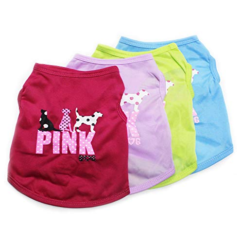 DERUILA Dog Shirt for Small Medium Dog Boy|Girl Pink Dog Summer Clothes for Puppy Cat Christmas New Year Apparel 4Pack
