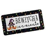 Dozili Bewitcha In A Minute Sign – Señales de Halloween para coronas – Decoración de bruja – Carteles de metal con refranes – Signos de corona de bruja