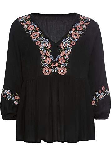bonprix Romantische Tunika mit Verzierungen und V-Ausschnitt schwarz 36 für Damen