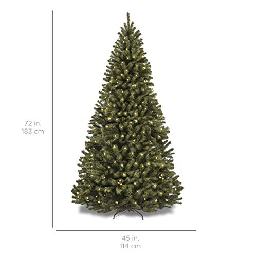 Best Choice Products 6 Foot Pre-Lit Spruce Hinged Artificial Tree with 250 Clear Incandescent Lights, Foldable Stand - Green