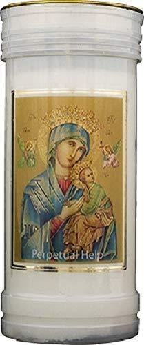 Our Lady Perpetual Help Candle 72 Hour Burn Prayer Saint Catholic 15cm White