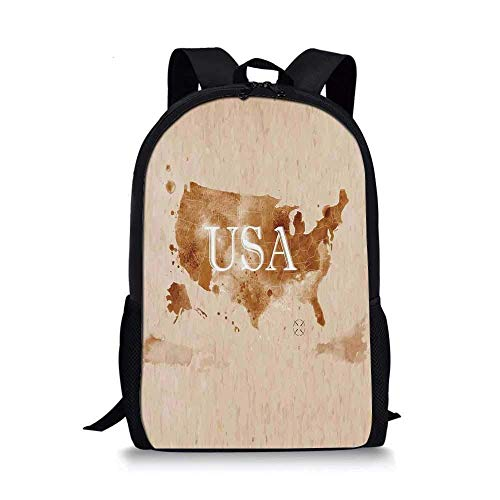 AOOEDM Backpack Americana Stylish School Bag,Early American Retro Map of The Country Southwest and Alaska Image Print for Boys,11''L x 5''W x 17''H