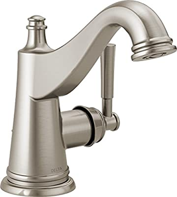 Delta Faucet Mylan Single Hole Bathroom Faucet Brushed Nickel, Single Handle, Drain Assembly, Worry-Free Drain Catch, SpotShield Brushed Nickel 15777LF-SP