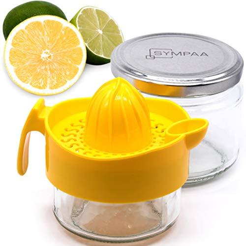 SYMPAA Exprimidor Comfort Plus con dos recipientes de cristal y tapa para almacenamiento sostenible. Exprimidor de limones