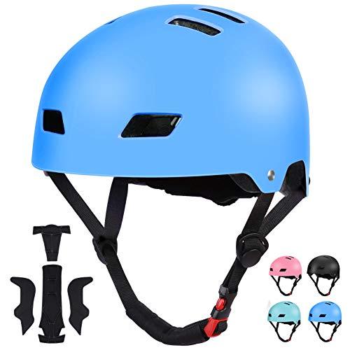 SKL Kids Skateboard Helmet, Bike Helmet for 8-12 Years Old, Adjustable Helmet, Impact Resistance Lightweight Helmet for Skating Cycling Scooter Skateboarding Inline Skating Longboard Boys Girls Blue