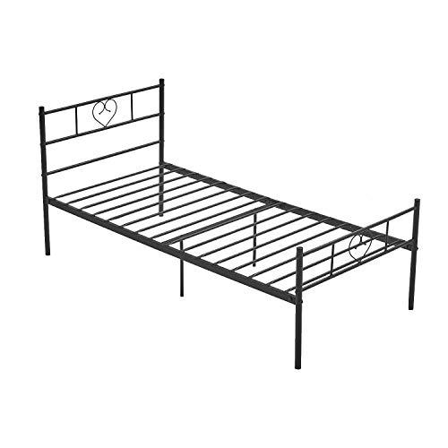 LiePu Gästebett Metallbett Einzelbett Modern, Bettrahmen mit Herzförmiges Kopfteil, Kinderbett Jugendbett Bettgestelle für Schlafzimmer, 90 x 200 cm, Schwarz
