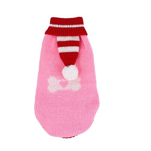 sourcingmap Pom Pom Detail Knitwear Coltrui Huisdier Kleding Trui, Groot, Rood/Roze