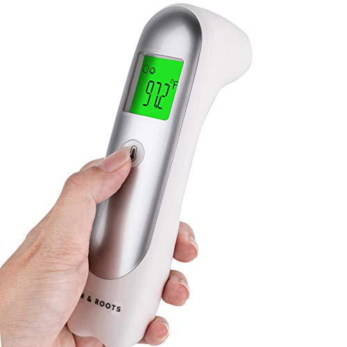 SUN & ROOTS Touchless Thermometer for Baby, Digital Thermometer for Adults and Kids, Infrared Thermometer for Fever, Body and Surface Thermometer Silver
