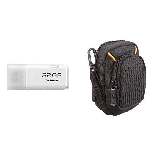 Toshiba Hayabusa Pendrive 32GB, Chiavetta USB 2.0, Bianco & Amazon Basics - Custodia per fotocamera compatta, misura media