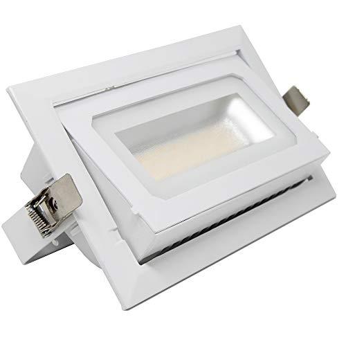 FactorLED Foco Proyector LED 40W Osram Chip, Rectangular 120º, Empotrable, Iluminación Interior, Focos para Comercios, Dimmable, CCT Cambio de Color [Clase de eficiencia energética A+]