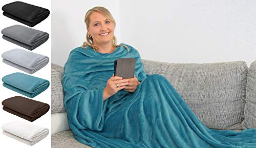 L.E.M.B. Hometrends Kuscheldecke mit Ärmeln TV Decke Sofadecke Ärmeldecke Wohndecke Fleecedecke Mikrofaser Strokkur 170 x 200 cm Petrol