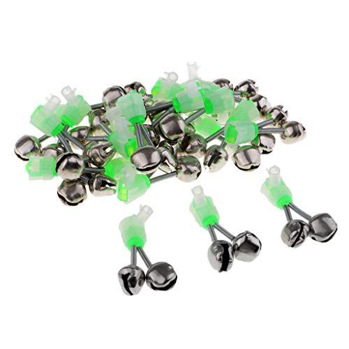B Blesiya 20 Stück Angeln LED Aalglocken-Set Aal-Glöckchen doppelt Bissanzeiger zum Angeln - Grün