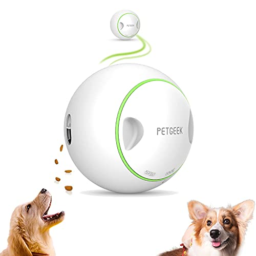interactive dog toys PETGEEK Automatic Dog Toy Treat Dispensing Dog Toys Electronic Interactive Dog Puzzle Toys, Dog Toy Ball, Dog Entertainment Toys for Home Alone, Dog Balls Moving Birthday Toy Feeder with After-Sales