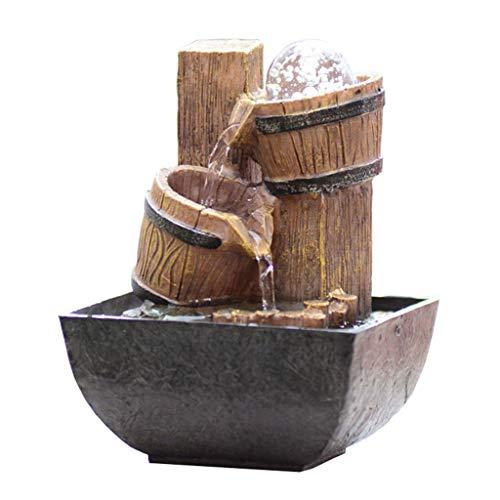 zxb-shop Fuente Interiores Fuente de sobremesa Fuente de Agua Zen pequeña Resina de 2 Capas Barril de Madera pequeño y Fuente de Agua circulante Decoración del hogar Jardín Oficina Fuente Escritorio