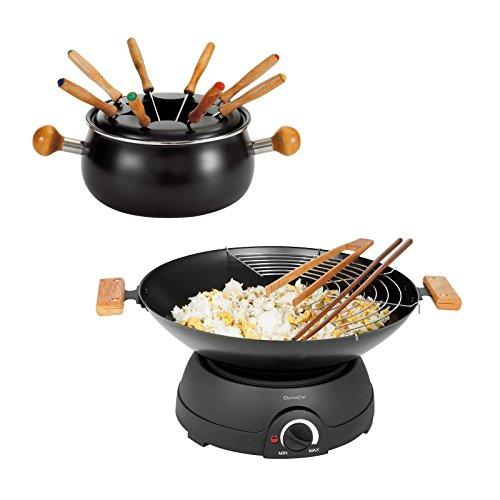 Fondueset, fondue, elektrische wok met glazen deksel, wokpan, elektrowok, elektrische pan, thermostaat, 8 personen