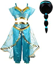 Tacobear Jasmine Costume for Girls Arabian Sequined Jasmine Dress up with Wig Tiara Wand Cosplay for Kids (130(5-6T), 01 Jasmine Costume with Wig)