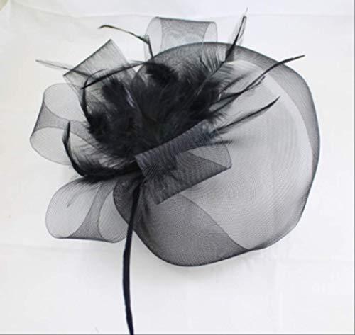 Dlorvoguewedding Accessoires Bruids Hoeden Kunstbloemen Zwarte Veer