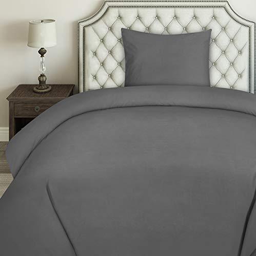 Utopia Bedding Bettwäsche-Set - Mikrofaser Bettbezug 135x200 cm und 1 Kopfkissenbezug 80x80 cm - Grau Bettbezüge Set mit Reißverschluss