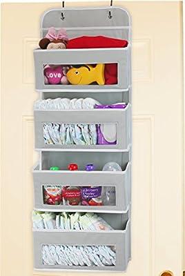 Simplehouseware Over Door/Wall Mount 4 Clear Window Pocket Organizer, Gray from Simple Houseware