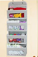 """4 Large pockets hanging storage over the door Large clear window see through what are stored inside Hangs on standard door or closet rod, no hardware needed Prefect for storing kids toys, baby diapers and accessories Dimensions: 36 1/4"""" H x 13"""" W x 3..."""