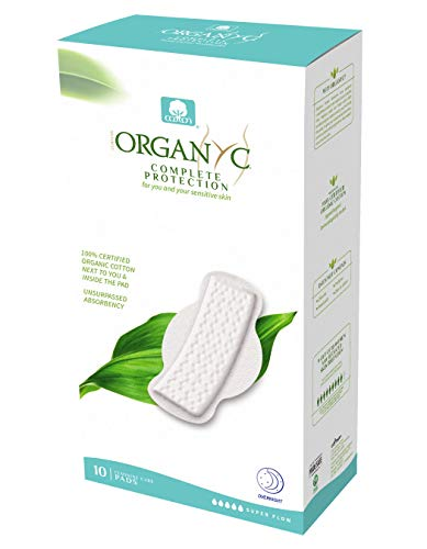 Organyc 100% Certified Organic Cotton Feminine Pads – Menstrual Pad with Wings, Super Flow (10 Count)