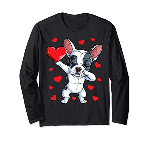 Dabbing French Bulldog Heart Valentines Day Gifts Men Dog Manche Longue
