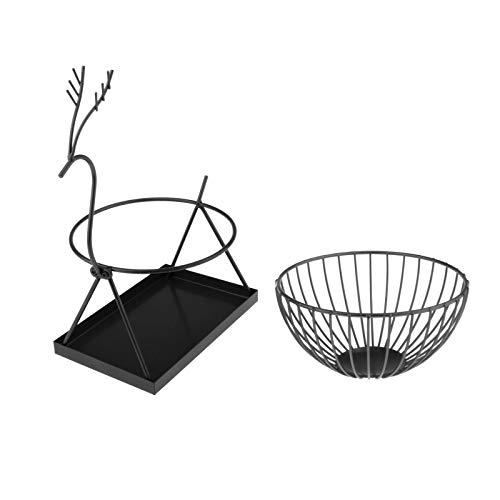 FLAMEER Tazón de fruta redondo hecho de alambre de Metal, cesta de frutas moderna para frutas, verduras y más, cesta de alambre práctico para almacenamiento - Negro Grande