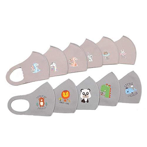 10PCS Algodon Reutilizables para niños, Tela Lavable de Algodón Suave Lavable Y Reutilizables impresión animal (C,talla única)