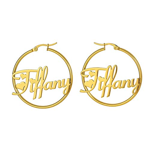 TOOSUO Personalized Hoop Earrings w/Any Names 18k Gold Plated