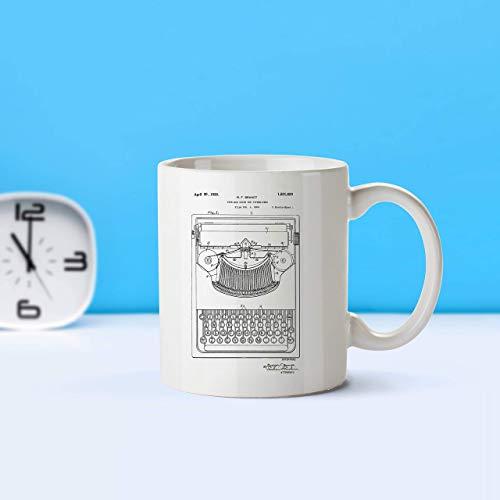 N\A Máquina de Escribir, Taza de Patente, Taza de café, Amante del café, Arte de Patente, Taza de Patente, Regalo para escritores, Regalo para Maestros, decoración Vintage, vintagem301