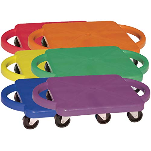 Champion Sports Scooter Board with Handles, Set of 6, Wide 12 x 12 Base - Multi-Colored, Fun Sports Scooters with Non-Marring Plastic Casters for Children - Premium Kids Outdoor Activities and Toys